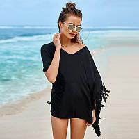Платье-туника пляжное хлопковое с бахромой, черное, фото 1