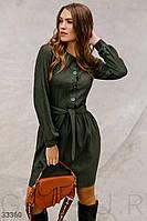Короткое осеннее платье из вельвета темно-зеленое