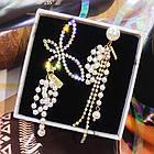 Асимметричные серьги-подвески (серьги непарные). Сережки с бабочкой и бусинами асимметричные, фото 2