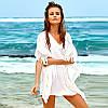 Платье-туника пляжное хлопковое с бахромой, белое, опт