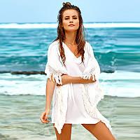 Платье-туника пляжное хлопковое с бахромой, белое, опт, фото 1