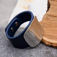 Женский браслет напульсник из стали и кожи 21,5 см 172461