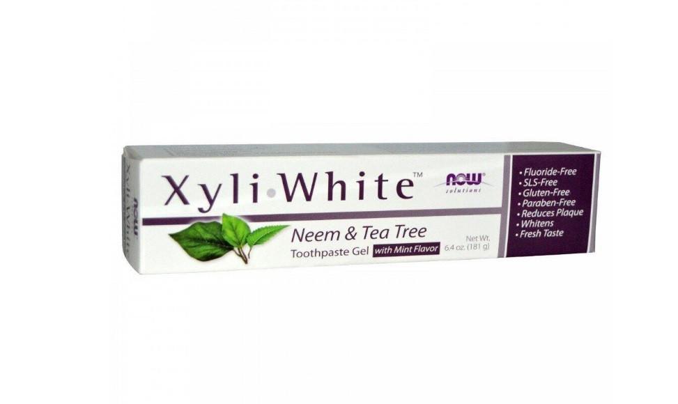 Зубная паста-гель масло ним и чайное дерево БЕЗ ФТОРА NOW Foods Xyli White Neem & Tea Tree, 181 g