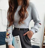 Ангоровый женский свитер с узором на рукавах 79ddet676