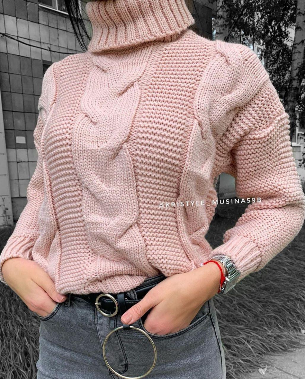 Женский вязаный свитер с узором и высоким воротником 79ddet678