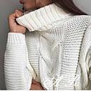 Женский вязаный свитер с узором и высоким воротником 79ddet678, фото 2