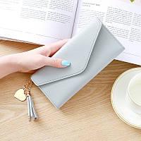 Клатч-кошелек женский стильный «Elegant» длинный в виде конверта (серый)