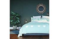 Комплект постельного белья Ранфорс «Mint Love Hearts» ТЕП - Двуспальный