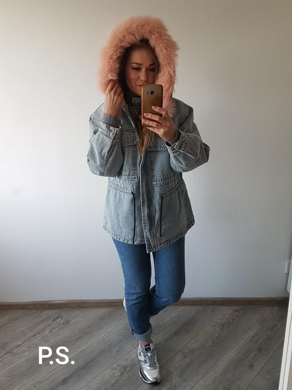 Удлиненная женская джинсовая куртка на меху с капюшоном и мехом 76kur170