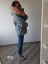 Удлиненная женская джинсовая куртка на меху с капюшоном и мехом 76kur170, фото 2