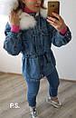Удлиненная женская джинсовая куртка на меху с капюшоном и мехом 76kur170, фото 3