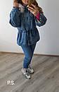 Удлиненная женская джинсовая куртка на меху с капюшоном и мехом 76kur170, фото 4