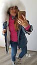 Удлиненная женская джинсовая куртка на меху с капюшоном и мехом 76kur170, фото 5