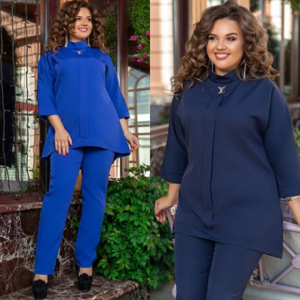 Костюм женский брючный большого размера, повседневный, блуза свободного кроя и брюки, от 50 до 60 размера