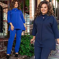 Костюм женский брючный большого размера, повседневный, блуза свободного кроя и брюки, от 50 до 60 размера, фото 1