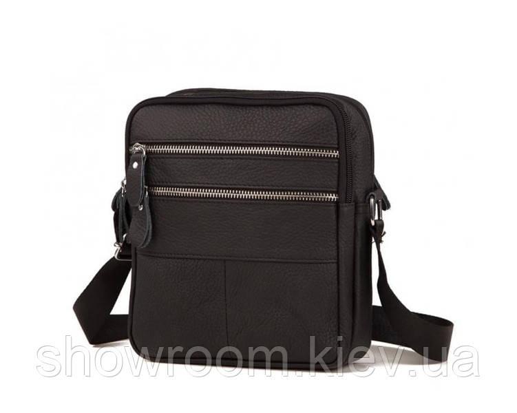 Мужская компактная сумка на плечо Leather Collection (392) черная кожаная