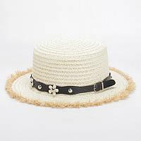Соломенная шляпа-канотье белого цвета с ремешком в цветочек, опт, фото 1
