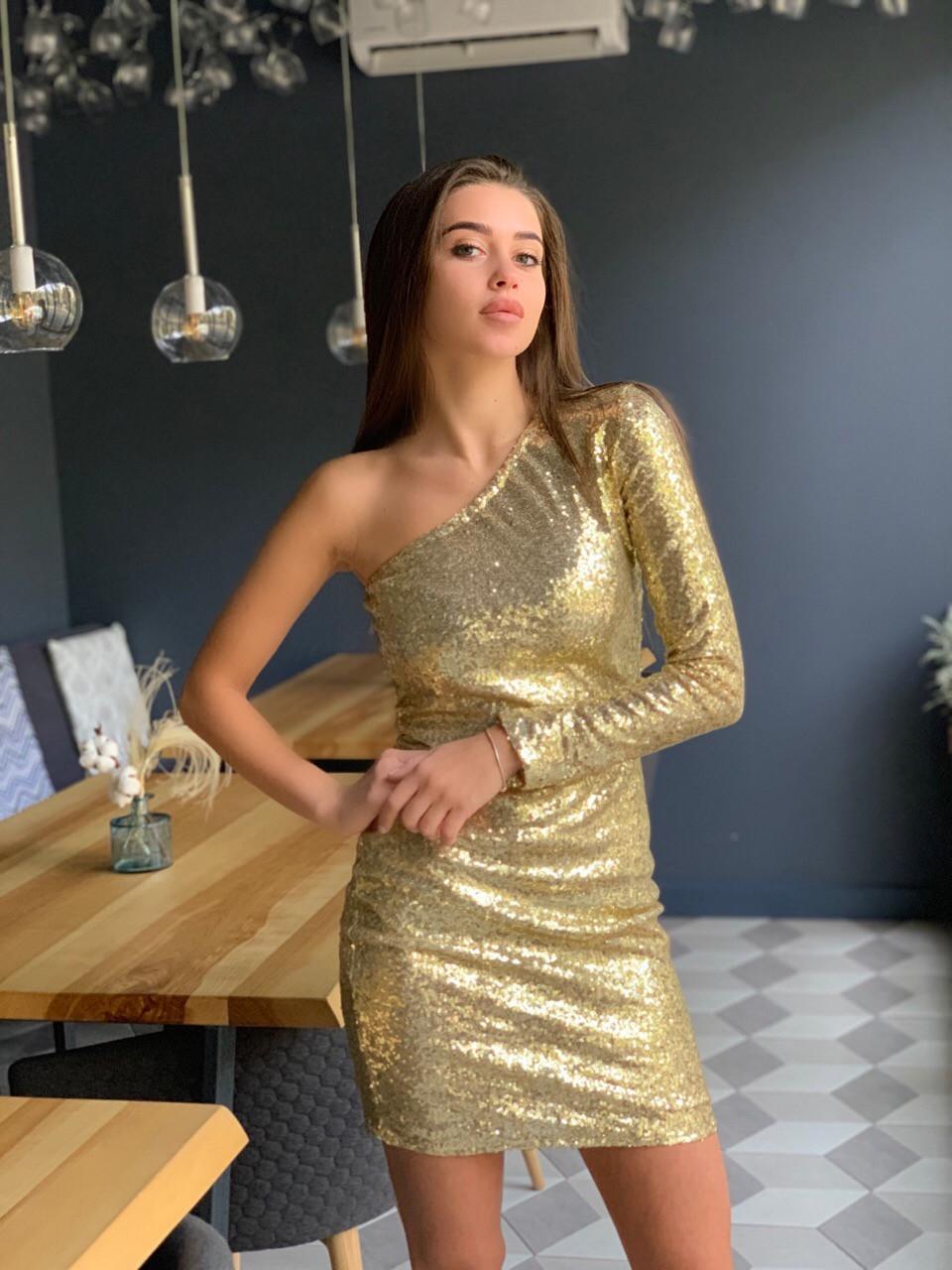 Платье пайетка с одним рукавом и длиной выше колена 41plt249