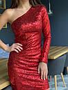 Платье пайетка с одним рукавом и длиной выше колена 41plt249, фото 2