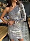 Платье пайетка с одним рукавом и длиной выше колена 41plt249, фото 3