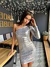 Платье пайетка с одним рукавом и длиной выше колена 41plt249, фото 4