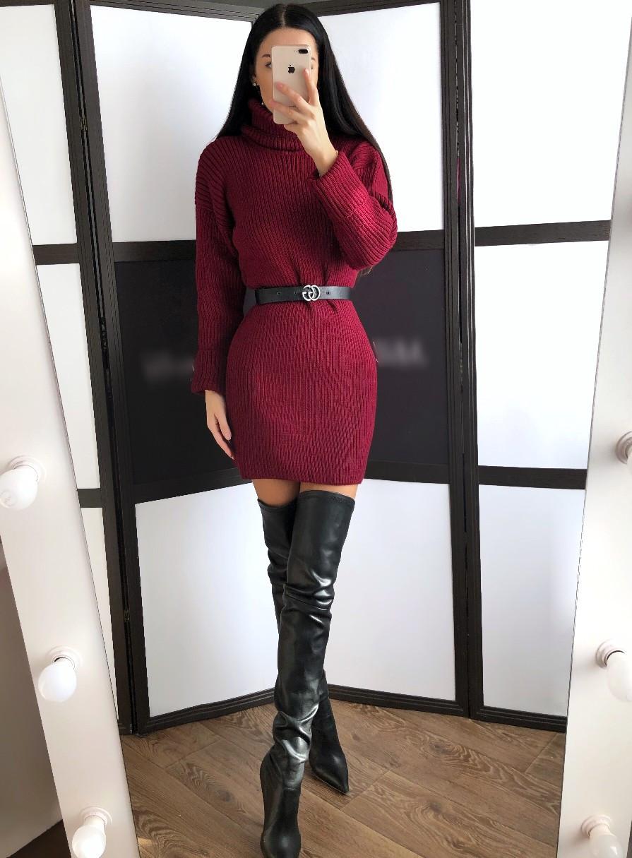 Теплое кашемировое вязное платье с высоким воротником 20plt253