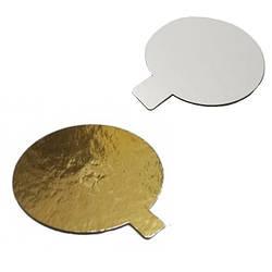 Подложка под торты круг Ø-90 мм с ушком (100 шт)