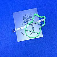 Набор (форма+трафарет) «Мышка с подарком на елочном шаре»
