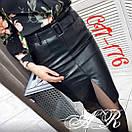 Кожаная женская юбка - карандаш с разрезом спереди 79jus311, фото 2