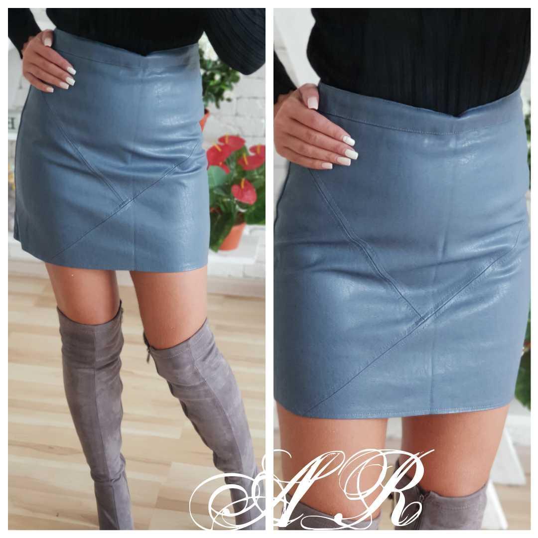 Кожаная короткая женская юбка на молнии 79jus314