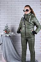 Подростковый зимний костюм для девочки с бананкой9-14 лет, цвет хаки