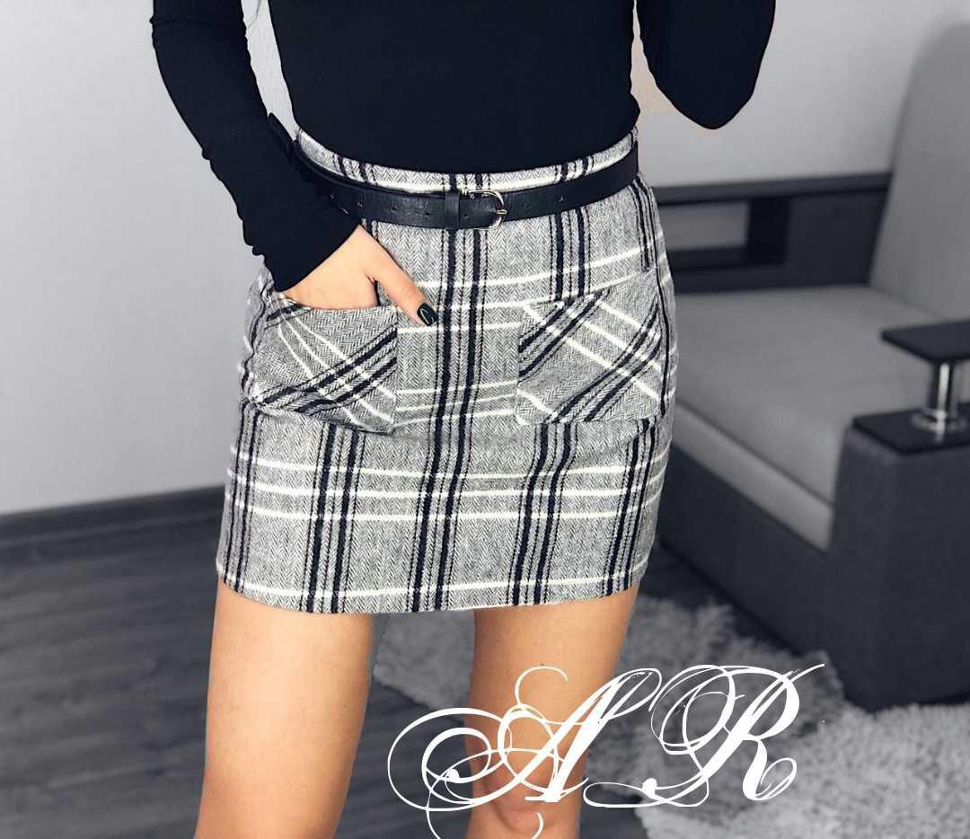 Женская фетровая юбка в клетку с карманами 79jus317