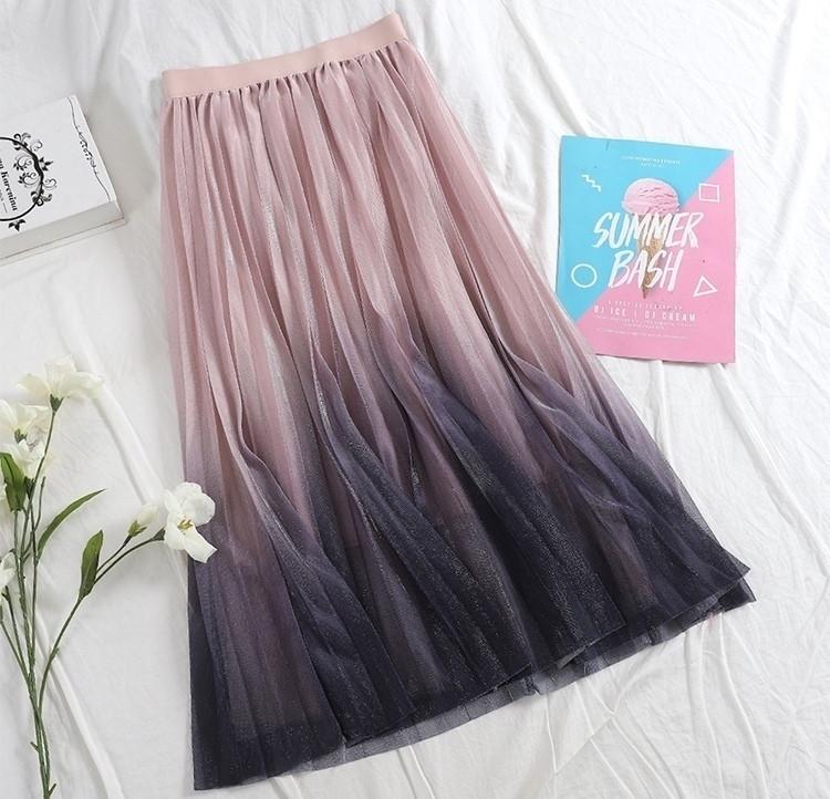 Фатиновая женская юбка миди с градиентом 79jus324