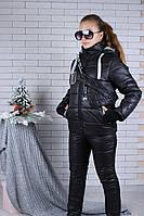Подростковый зимний костюм для девочки с бананкой,9-14 лет, черного цвета