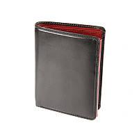 Портмоне кошелек мужской Visconti TR34 - Waldorf (Black Red) черный кожаный двойного сложения для карт и монет