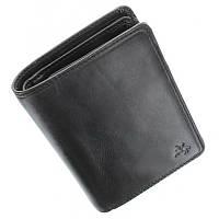 Портмоне кошелек мужское Visconti TSC44 Lucca (Black) черное кожаное двойного сложения для карт купюр и монет