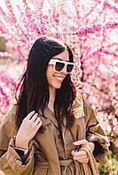 Солнцезащитные очки  Cолнцезащитные женские очки белые 6932 Общая ширина 14.2(см)/ Высота линзы 4.2(см)/ Ширина линзы 5.4(см) (6932)