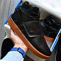 """Мужские кроссовки Adidas Tubular Invader """"Black Gum"""" 41-44рр. Живое фото. (Реплика ААА+)"""