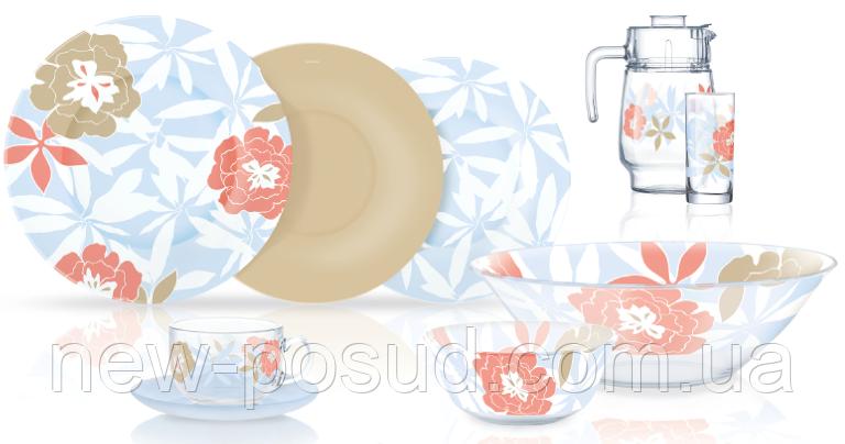 Столовый сервиз Luminarc Peony Floral Blue 46 предметов N6255