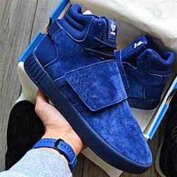 "Мужские кроссовки Adidas Tubular Invader ""Blue"" синие замша 41-44рр. Живое фото (Реплика ААА+)"