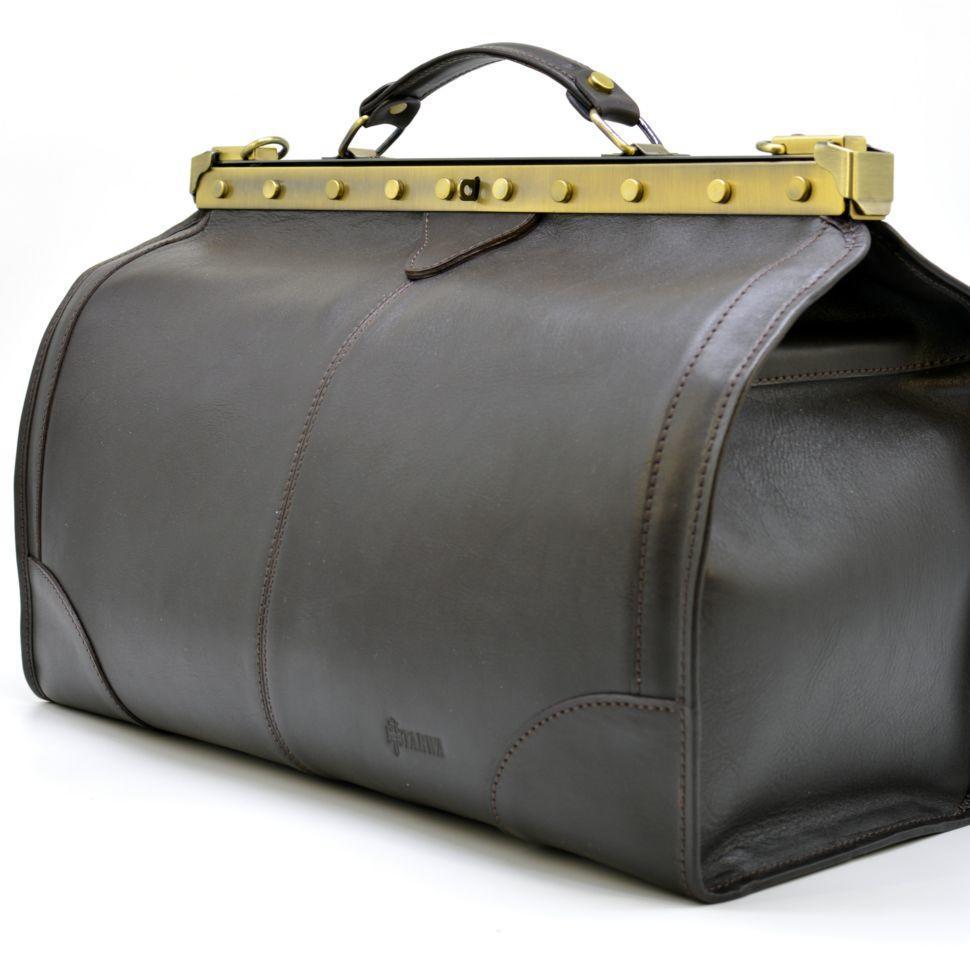 Саквояж з телячої шкіри темно-коричневий бренд TARWA МС-1221-4lx