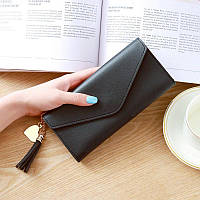 Клатч-кошелек женский стильный «Elegant» длинный в виде конверта (черный), фото 1