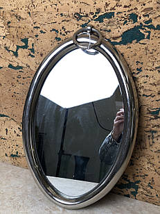Зеркало настенное металическое овальное серебристое