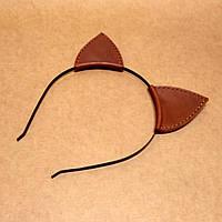 Кожаные ушки на ободке. Обруч для волос Ушки, фото 1