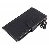 Портмоне кошелек мужское TIDING BAG 8057A черное кожаное на молнии и кнопке двойного сложения для карт