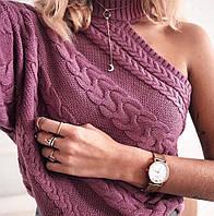 Женский свитер с одним рукавом и высоким воротником 68dmde669, фото 1