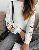 Ангоровый женский свитер с узором на рукавах 79dmde676, фото 1