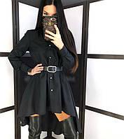 Коттоновое плаття сорочка з пишною спідницею і довгим рукавом 20mpl252