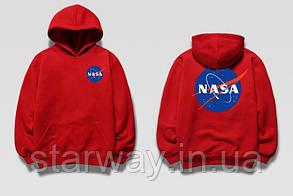 Толстовка красная Nasa two-sided logo | Худи топ