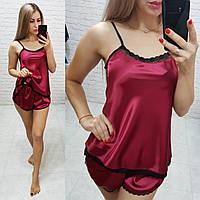 Женский комплект для сна ткань шелк Армани качество Люкс размеры S-M, L-XL цвет бордовый